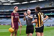 31 March 2019; Referee Cathal Egan with team captains Sarah Dervan of Galway and Anna Farrell of Kilkenny before the Littlewoods Ireland Camogie League Division 1 Final match between Kilkenny and Galway at Croke Park in Dublin. Photo by Piaras Ó Mídheach/Sportsfile
