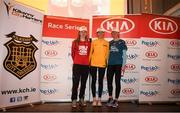 18 April 2019; The first three female finishers Sinead O' Connor of Leevale A.C., Co. Cork, centre, Siobhan O' Doherty of Borrisokane A.C., Co. Tipperary, left, and Mary Mulhare of Portlaoise A.C., Co. Laois, following  the Kia Race Series Streets of Kilkenny 5k in Kilkenny City.  Photo by Harry Murphy/Sportsfile