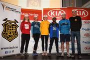 18 April 2019; The first three male and female finishers, from left, Siobhan O' Doherty of Borrisokane A.C., Co. Tipperary, Mary Mulhare of Portlaoise A.C., Co. Laois, Sinead O' Connor of Leevale A.C., Co. Cork, Hiko Tanosa of Dundrum South Dublin A.C., Co. Dublin, Eric Keogh of Donore Harriers, Co. Dublin, and Thomas Hayes of Kilkenny City Harriers A.C, Co. Kilkenny right following the Kia Race Series Streets of Kilkenny 5k in Kilkenny City.  Photo by Harry Murphy/Sportsfile