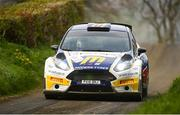 19 April 2019; Alastair Fisher and Gordon Noble in their Ford Fiesta R5 during Day One of the 2019 UAC Easter Stages rally, Round 3 - 2019 Tarmac Rally Championship, at Special Stage 4, in Buckna, in Co Antrim. Photo by Philip Fitzpatrick/Sportsfile