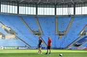19 April 2019; Head coach Johann van Graan, left, and Keith Earls look on during the Munster rugby captain's run at Ricoh Arena in Coventry, England. Photo by Brendan Moran/Sportsfile