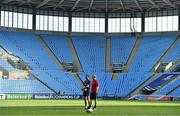 19 April 2019; Head coach Johann van Graan, left, and Keith Earls during the Munster rugby captain's run at Ricoh Arena in Coventry, England. Photo by Brendan Moran/Sportsfile