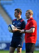 19 April 2019; Keith Earls, right, and head coach Johann van Graan the Munster rugby captain's run at Ricoh Arena in Coventry, England. Photo by Brendan Moran/Sportsfile