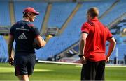 19 April 2019; Tyler Bleyendaal, left, and Keith Earls during the Munster rugby captain's run at Ricoh Arena in Coventry, England. Photo by Brendan Moran/Sportsfile