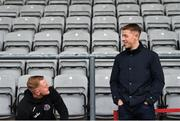 19 April 2019; Former Bohemians goalkeeper Shane Supple, right, with current Bohemians goalkeeper James Talbot prior to the SSE Airtricity League Premier Division match between Bohemians and UCD at Dalymount Park in Dublin. Photo by Seb Daly/Sportsfile