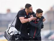 19 April 2019; Rob Cornwall, left, and Keith Buckley of Bohemians arrive prior to the SSE Airtricity League Premier Division match between Bohemians and UCD at Dalymount Park in Dublin. Photo by Seb Daly/Sportsfile