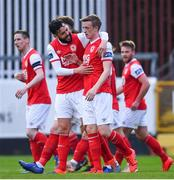 19 April 2019; Chris Forrester of St Patrick's Athletic celebrates with team-mate David Webster, left, after scoring his side's first goal during the SSE Airtricity League Premier Division match between St Patrick's Athletic and Sligo Rovers at Richmond Park in Dublin. Photo by Ramsey Cardy/Sportsfile