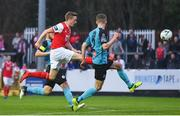 19 April 2019; Chris Forrester of St Patrick's Athletic shoots to score his side's first goal of the game during the SSE Airtricity League Premier Division match between St Patrick's Athletic and Sligo Rovers at Richmond Park in Dublin. Photo by Ramsey Cardy/Sportsfile