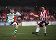 19 April 2019; Jack Byrne of Shamrock Rovers in action against Barry McNamee of Derry City during the SSE Airtricity League Premier Division match between Derry City and Shamrock Rovers at the Ryan McBride Brandywell Stadium in Derry. Photo by Stephen McCarthy/Sportsfile