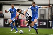 19 April 2019; Patrick Hoban of Dundalk is fouled by Sam Todd of Finn Harps during the SSE Airtricity League Premier Division match between Dundalk and Finn Harps at Oriel Park in Dundalk, Co. Louth. Photo by Ben McShane/Sportsfile