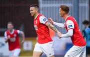 19 April 2019; Mikey Drennan of St Patrick's Athletic celebrates after scoring his side's second goal of the game from a penalty with Gary Shaw, right, during the SSE Airtricity League Premier Division match between St Patrick's Athletic and Sligo Rovers at Richmond Park in Dublin. Photo by Ramsey Cardy/Sportsfile