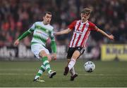 19 April 2019; Sean Kavanagh of Shamrock Rovers in action against Ciaron Harkin of Derry City during the SSE Airtricity League Premier Division match between Derry City and Shamrock Rovers at the Ryan McBride Brandywell Stadium in Derry. Photo by Stephen McCarthy/Sportsfile