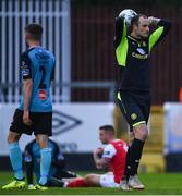 19 April 2019; Sligo Rovers goalkeeper Mitchell Beeney reacts after his side conceded a penalty during the SSE Airtricity League Premier Division match between St Patrick's Athletic and Sligo Rovers at Richmond Park in Dublin. Photo by Ramsey Cardy/Sportsfile