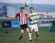 19 April 2019; Ronan Finn of Shamrock Rovers in action against Ciaron Harkin of Derry City during the SSE Airtricity League Premier Division match between Derry City and Shamrock Rovers at the Ryan McBride Brandywell Stadium in Derry. Photo by Stephen McCarthy/Sportsfile