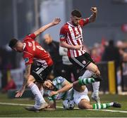 19 April 2019; David Parkhouse, left, and Patrick McClean of Derry City in action against Roberto Lopes of Shamrock Rovers during the SSE Airtricity League Premier Division match between Derry City and Shamrock Rovers at the Ryan McBride Brandywell Stadium in Derry. Photo by Stephen McCarthy/Sportsfile