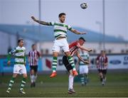 19 April 2019; Lee Grace of Shamrock Rovers in action against David Parkhouse of Derry City during the SSE Airtricity League Premier Division match between Derry City and Shamrock Rovers at the Ryan McBride Brandywell Stadium in Derry. Photo by Stephen McCarthy/Sportsfile