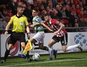 19 April 2019; Patrick McClean of Derry City in action against Dylan Watts of Shamrock Rovers during the SSE Airtricity League Premier Division match between Derry City and Shamrock Rovers at the Ryan McBride Brandywell Stadium in Derry. Photo by Stephen McCarthy/Sportsfile