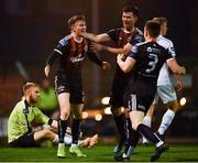 19 April 2019; Daniel Grant of Bohemians, left, celebrates with team-mates Dinny Corcoran and Darragh Leahy after scoring his side's third goal during the SSE Airtricity League Premier Division match between Bohemians and UCD at Dalymount Park in Dublin. Photo by Seb Daly/Sportsfile