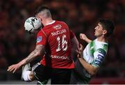 19 April 2019; Dylan Watts of Shamrock Rovers in action against Patrick McClean of Derry City during the SSE Airtricity League Premier Division match between Derry City and Shamrock Rovers at the Ryan McBride Brandywell Stadium in Derry. Photo by Stephen McCarthy/Sportsfile