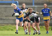 20 April 2019; Alice Kelly of Roscommon in action against Nicola Brennan, Ann Maire Coleman and Bernice Byrne of Sligo during the Lidl NFL Division 3 semi-final match between Sligo and Roscommon at Glennon Brothers Pearse Park in Longford. Photo by Matt Browne/Sportsfile