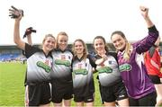 20 April 2019; Sligo players from left Sinead Regan, Rachel Monaghan, Sinead Naughton, Leah Kelly and Rachael Quigley celebrate after the Lidl NFL Division 3 semi-final match between Sligo and Roscommon at Glennon Brothers Pearse Park in Longford. Photo by Matt Browne/Sportsfile