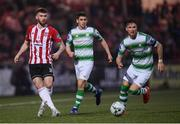 19 April 2019; Patrick McClean of Derry City and Ronan Finn of Shamrock Rovers during the SSE Airtricity League Premier Division match between Derry City and Shamrock Rovers at the Ryan McBride Brandywell Stadium in Derry. Photo by Stephen McCarthy/Sportsfile