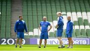 20 April 2019; The coaching team, from left, scrum coach John Fogarty, kicking coach and head analyst Emmet Farrell, head coach Leo Cullen and senior coach Stuart Lancaster during the Leinster Rugby captain's run at the Aviva Stadium in Dublin. Photo by Ramsey Cardy/Sportsfile
