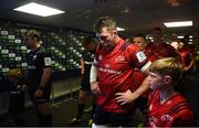 20 April 2019; Munster captain Peter O'Mahony prepares to lead his side out prior to the Heineken Champions Cup Semi-Final match between Saracens and Munster at the Ricoh Arena in Coventry, England. Photo by David Fitzgerald/Sportsfile