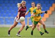 20 April 2019; Megan Glynn of Galway in action against Niamh Carr of Donegal during the Lidl NFL Division 1 semi-final match between Galway and Donegal at Glennon Brothers Pearse Park in Longford. Photo by Matt Browne/Sportsfile