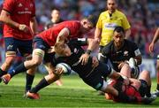 20 April 2019; Liam Williams of Saracens is tackled by Peter O'Mahony, left, and Dave Kilcoyne of Munster during the Heineken Champions Cup Semi-Final match between Saracens and Munster at the Ricoh Arena in Coventry, England. Photo by Brendan Moran/Sportsfile
