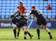 20 April 2019; Chris Farrell of Munster is tackled by Alex Lozowski, left, and Nick Tompkins of Saracens during the Heineken Champions Cup Semi-Final match between Saracens and Munster at the Ricoh Arena in Coventry, England. Photo by David Fitzgerald/Sportsfile