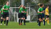 20 April 2019; Áine O'Gorman of Peamount United, centre right, celebrates with Amber Barrett after scoring their side's first goal during the Só Hotels Women's National League match between Peamount United and Shelbourne at Greenogue in Rathcoole, Dublin. Photo by Sam Barnes/Sportsfile