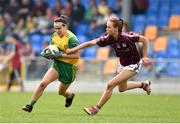 20 April 2019; Gereldine McLoughlin of  Donegal in action against Olivia Divilly of Galway during the Lidl NFL Division 1 semi-final match between Galway and Donegal at Glennon Brothers Pearse Park in Longford. Photo by Matt Browne/Sportsfile