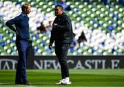 21 April 2019; Leinster head coach Leo Cullen and Jerome Kaino of Toulouse prior to the Heineken Champions Cup Semi-Final match between Leinster and Toulouse at the Aviva Stadium in Dublin. Photo by Brendan Moran/Sportsfile