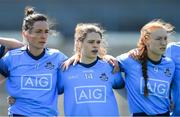 21 April 2019; Dublin players, from left, Niamh McEvoy, Noëlle Healy, and Lauren Magee stand for Amhrán na bhFiann before the Lidl NFL Division 1 semi-final match between Cork and Dublin at the Nowlan Park in Kilkenny. Photo by Piaras Ó Mídheach/Sportsfile