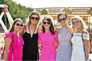21 April 2019; Racegoers, from left, Kerrie McGuirk, Niamh McCormack, Vanessa Burns, Aisling Farrelly and Shauna Gilsenan, from Kingscourt, Co. Cavan, at the Fairyhouse Easter Festival at Fairyhouse Racecourse in Ratoath, Co. Meath. Photo by Matt Browne/Sportsfile