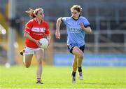 21 April 2019; Melissa Duggan of Cork in action against Noëlle Healy of Dublin during the Lidl NFL Division 1 semi-final match between Cork and Dublin at the Nowlan Park in Kilkenny. Photo by Piaras Ó Mídheach/Sportsfile