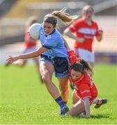 21 April 2019; Siobhán Killeen of Dublin in action against Melissa Duggan of Cork during the Lidl NFL Division 1 semi-final match between Cork and Dublin at the Nowlan Park in Kilkenny. Photo by Piaras Ó Mídheach/Sportsfile