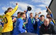 21 April 2019; Ewan O'Brian of Limerick lifts the trophy following the FAI Youth Interleague Cup Final between Limerick and Waterford at Jackman Park in Limerick. Photo by Harry Murphy/Sportsfile
