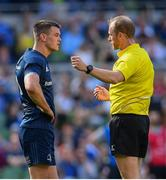 21 April 2019; Jonathan Sexton of Leinster in conversation with referee Wayne Barnes during the Heineken Champions Cup Semi-Final match between Leinster and Toulouse at the Aviva Stadium in Dublin. Photo by Ramsey Cardy/Sportsfile