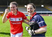 21 April 2019; Cork players Hannah Looney, left, and Martina O'Brien celebrate after the Lidl NFL Division 1 semi-final match between Cork and Dublin at the Nowlan Park in Kilkenny. Photo by Piaras Ó Mídheach/Sportsfile