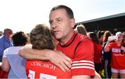 21 April 2019; Cork manager Ephie Fitzgerald celebrates with Libby Coppinger after the Lidl NFL Division 1 semi-final match between Cork and Dublin at the Nowlan Park in Kilkenny. Photo by Piaras Ó Mídheach/Sportsfile