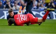 21 April 2019;  Garry Ringrose of Leinster prevents Maxime Médard of Toulouse scoring a try during the Heineken Champions Cup Semi-Final match between Leinster and Toulouse at the Aviva Stadium in Dublin. Photo by Sam Barnes/Sportsfile
