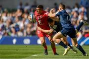 21 April 2019; Thomas Ramos of Toulouse in action against Garry Ringrose, left, and Jordan Larmour of Leinster during the Heineken Champions Cup Semi-Final match between Leinster and Toulouse at the Aviva Stadium in Dublin. Photo by Sam Barnes/Sportsfile