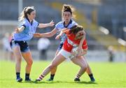 21 April 2019; Clare O'Shea of Cork in action against Siobhán Killeen, left, and Niamh McEvoy of Dublin during the Lidl NFL Division 1 semi-final match between Cork and Dublin at the Nowlan Park in Kilkenny. Photo by Piaras Ó Mídheach/Sportsfile