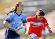 21 April 2019; Lauren Magee of Dublin in action against Eimear Scally of Cork during the Lidl NFL Division 1 semi-final match between Cork and Dublin at the Nowlan Park in Kilkenny. Photo by Piaras Ó Mídheach/Sportsfile