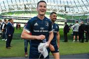 21 April 2019; Jonathan Sexton of Leinster celebrates with team-mate Rob Kearney after the Heineken Champions Cup Semi-Final match between Leinster and Toulouse at the Aviva Stadium in Dublin. Photo by Brendan Moran/Sportsfile