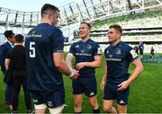 21 April 2019; Leinster players, from left, James Ryan, Rory O'Loughlin and Jordan Larmour celebrate after the Heineken Champions Cup Semi-Final match between Leinster and Toulouse at the Aviva Stadium in Dublin. Photo by Brendan Moran/Sportsfile