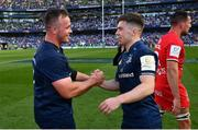 21 April 2019; Ed Byrne, left, and Luke McGrath of Leinster following the Heineken Champions Cup Semi-Final match between Leinster and Toulouse at the Aviva Stadium in Dublin. Photo by Ramsey Cardy/Sportsfile