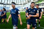 21 April 2019; Caelan Doris, left, and Robbie Henshaw of Leinster following the Heineken Champions Cup Semi-Final match between Leinster and Toulouse at the Aviva Stadium in Dublin. Photo by Ramsey Cardy/Sportsfile